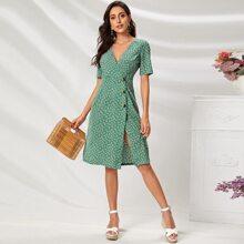V-neck Button Detail Ditsy Floral Dress