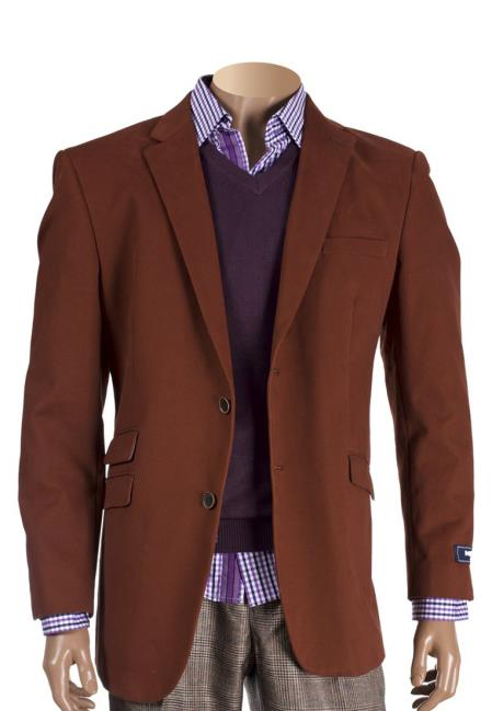 Men's Cognac 2 Button Cotton Notch Lapel With Elbow Patches Blazer