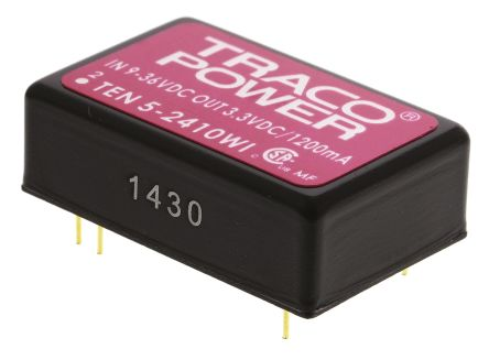 TRACOPOWER TEN 5WI 6W Isolated DC-DC Converter Through Hole, Voltage in 9 → 36 V dc, Voltage out 3.3V dc