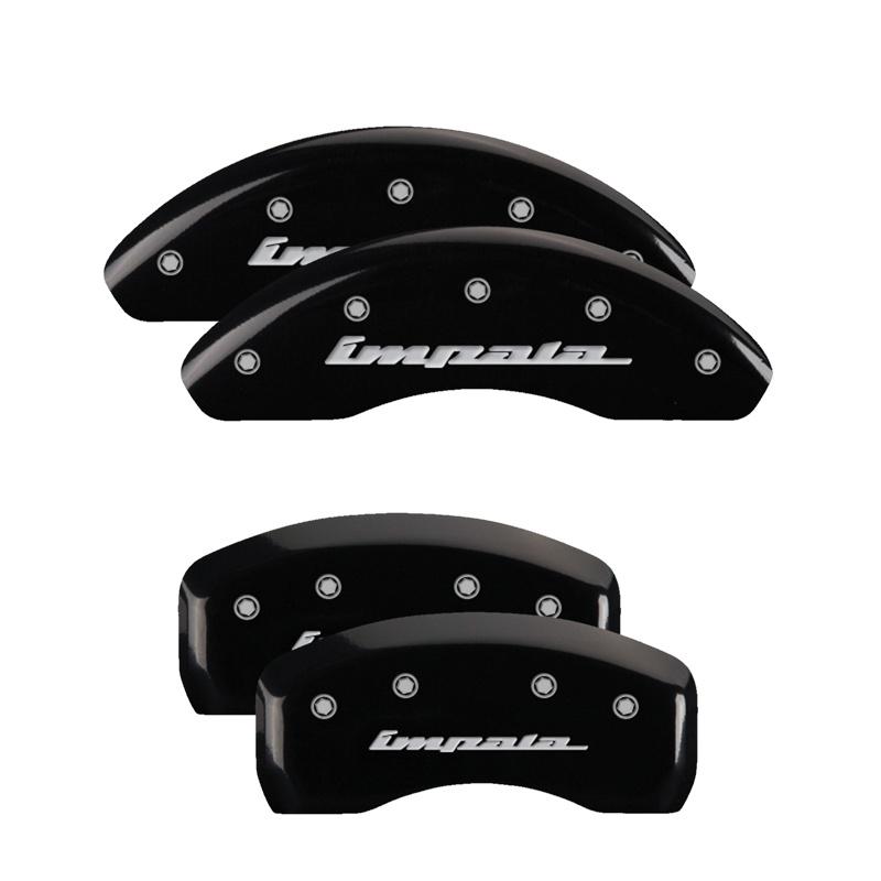 MGP Caliper Covers 14050SIMPBK Set of 4: Black finish, Silver Impala / Impala Chevrolet 2000-2005