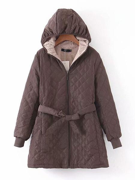 Milanoo Prendas de abrigo para mujer Azul marino oscuro Con capucha Mangas largas Cordon Casual Maxi Abrigo Prendas de abrigo de invierno