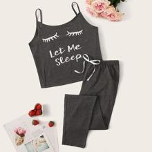 Conjunto de pijama de tirante con estampado de pestaña y letra