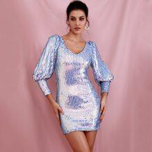vestido con lentejuelas holografico de manga gigot