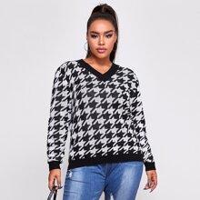 Plus V Neck Houndstooth Sweater