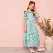 Girls Lace Panel Ruffle Trim Dress