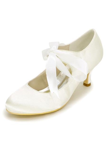 Milanoo Zapatos de novia de saten 6cm Zapatos de Fiesta Zapatos blanco  de tacon de kitten Zapatos de boda de puntera redonda con cordones