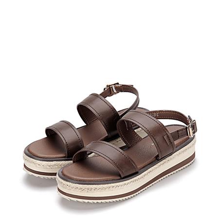 Yoins Brown Leather Look Double Straps Pin Buckle Closure Platform Sandals