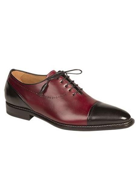 Mens Black Cap Toe Italian Calfskin Lace Up Leather Shoes Brand
