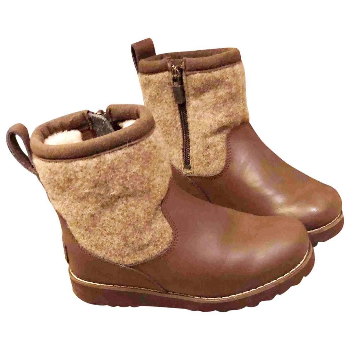 Ugg - Bottes.Bottines   pour enfant en cuir - marron