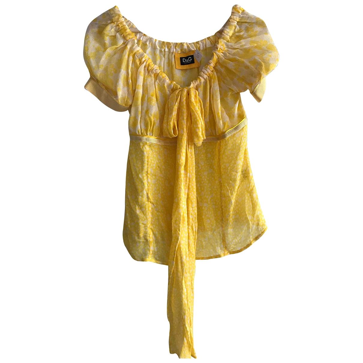D&g - Top   pour femme en soie - jaune