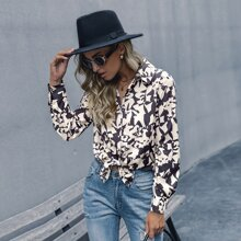 Allover Print Button Front Blouse