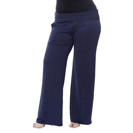 White Mark Womens High Rise Wide Leg Palazzo Pant-Plus, 2x , Blue