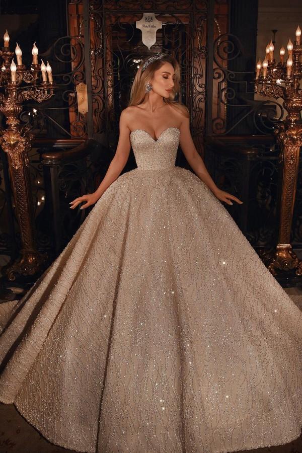 Vestido de novia de vestido de bola hinchado con cuentas brillantes de novia de lujo