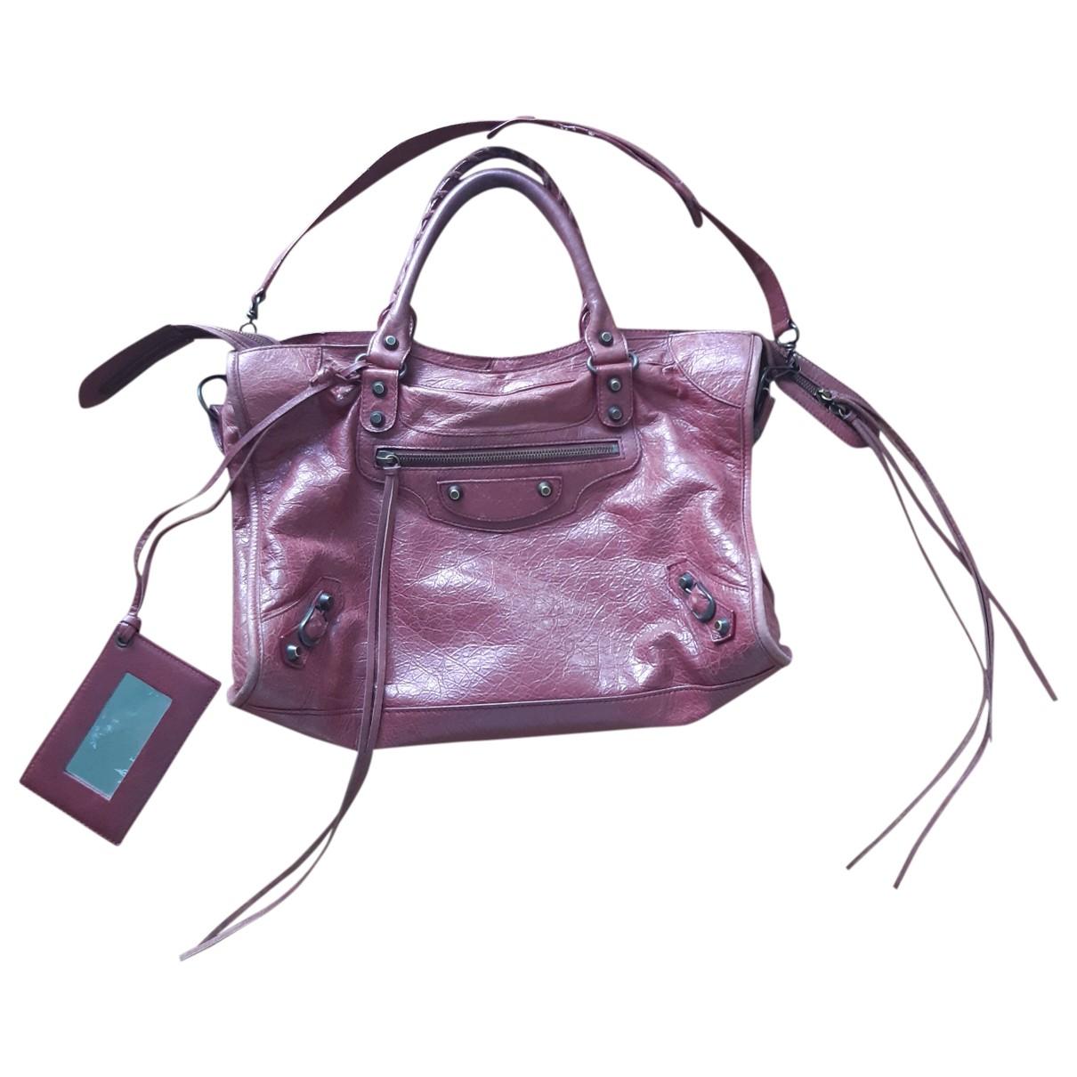 Balenciaga City Burgundy Leather handbag for Women \N