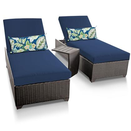 CLASSIC-2x-ST-NAVY Classic Chaise Set of 2 Outdoor Wicker Patio Furniture With Side Table with 2 Covers: Wheat and
