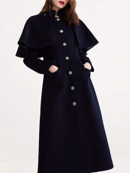 Milanoo abrigo mujer larga Azul marino oscuro con manga larga con escote Ilusion de lana Color liso con botones convertible Normal estilo retro Invi