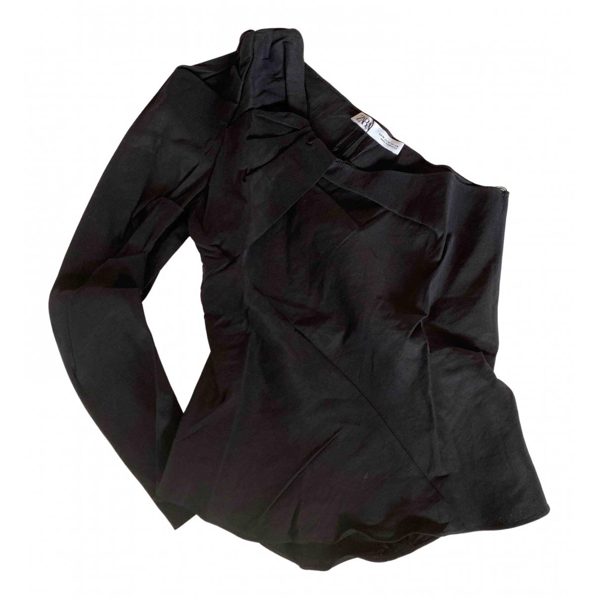Zara - Top   pour femme en lin - noir