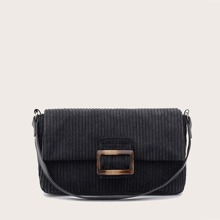Corduroy Buckle Baguette Bag