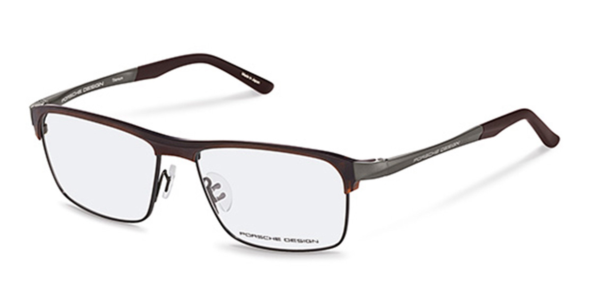 Porsche Design P8343 D Men's Glasses Brown Size 57 - Free Lenses - HSA/FSA Insurance - Blue Light Block Available