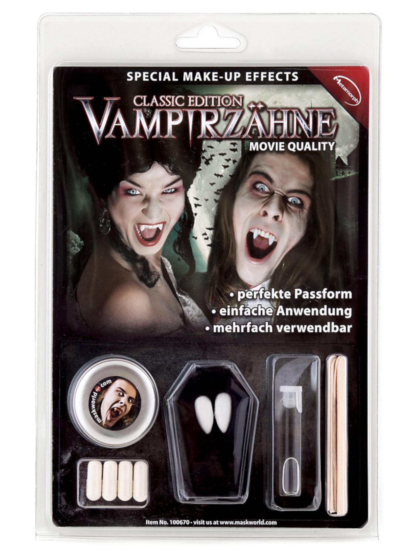 Kostuemzubehor Vampirzaehne Classic Set Schminke fuer Karneval & Fasching Farbe: weiss
