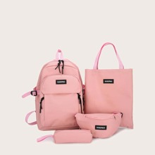 4pcs Letter Patch Backpack Set