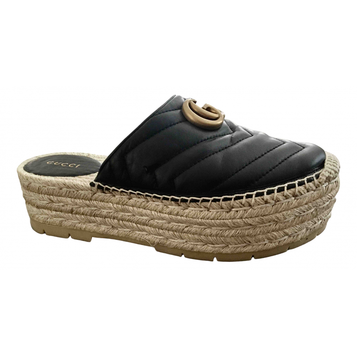 Gucci Lilibeth Black Leather Espadrilles for Women 36 EU