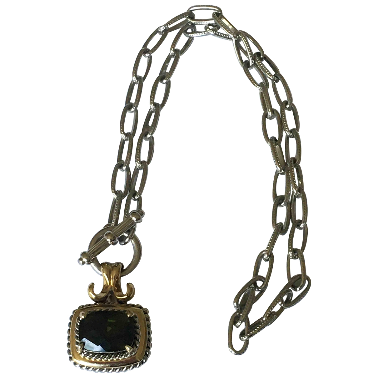 Non Signé / Unsigned Chaînes Green Silver Plated necklace for Women \N