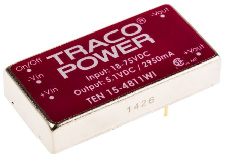 TRACOPOWER TEN 15WI 15W Isolated DC-DC Converter Through Hole, Voltage in 18 → 75 V dc, Voltage out 5V dc