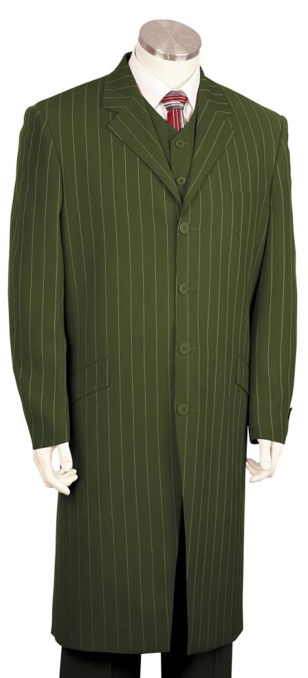 Mens Razor Stripe Notch Lapel Single Breasted Olive Zoot Suit
