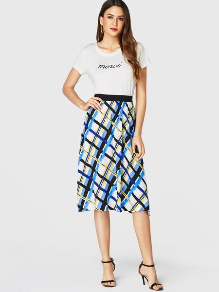 YOINS Multi Geometrical Elastic Waist Pleated Skirt