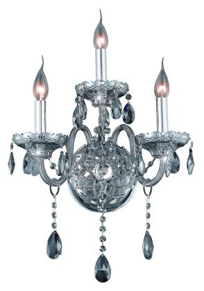 7953W3SS-SS/SS 7953 Verona Collection Wall Sconce W14in H20in E8.5in Lt: 3 Silver Shade Finish (Swarovski Strass/Elements Silver Shade