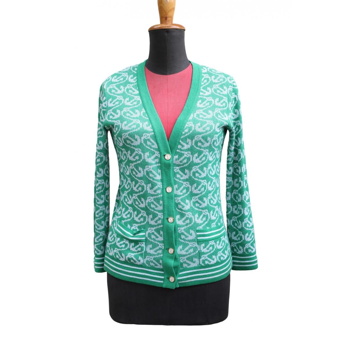 Hermes - Pull   pour femme en coton - vert