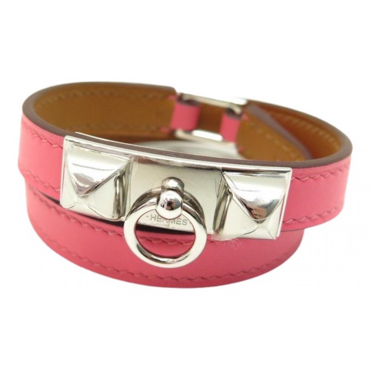 Hermes Rivale Armband in  Rosa Leder