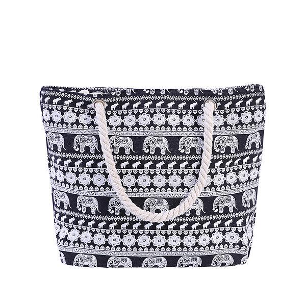 Women Canvas Elephant Print Handbag Shoulder Bag