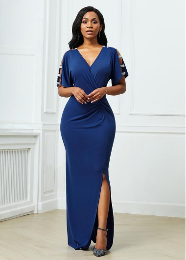 Cocktail Party Dress Side Slit Ladder Cutout Sleeve V Neck Dress - XL