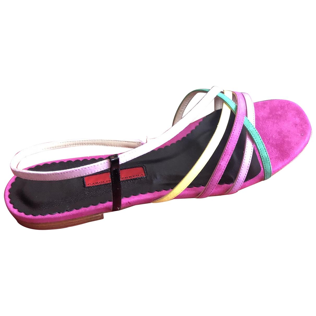 Carolina Herrera \N Pink Suede Sandals for Women 40 EU