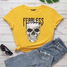 T-Shirt mit Buchstaben & Schaedel Muster