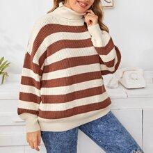 Pullover mit Rollkragen, Block Streifen und sehr tief angesetzter Schulterpartie