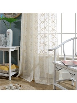 Simple Geometric Embroidered Custom Living Room Sheer Curtains Breathable Voile Drapes Never Fading Cracking Peeling or Flaking