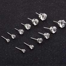 Set de pendientes de tachuela con diseño de diamante de imitacion