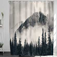 1pc Forest Print Shower Curtain With 12Hooks
