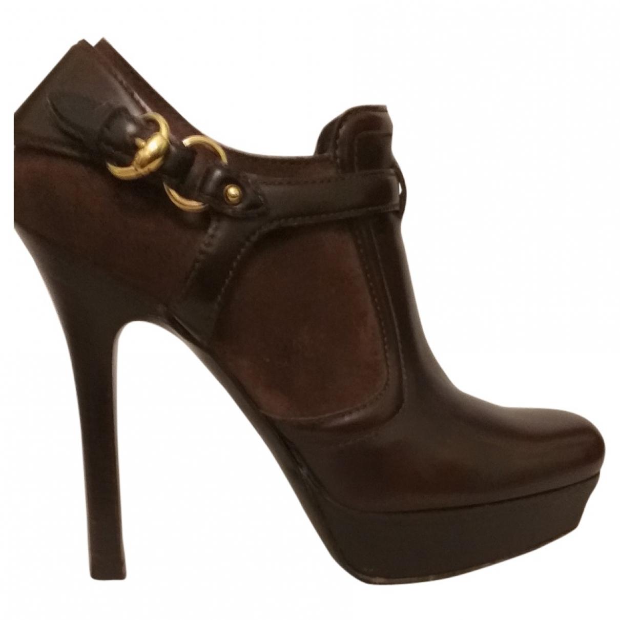 Gucci - Boots   pour femme en cuir - marron