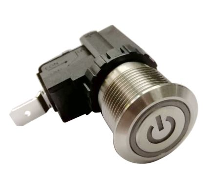 RS PRO Single Pole Single Throw (SPST) Maintained Push Button Switch, IP67, 19.1 (Dia.)mm, Panel Mount, Power Symbol, (20)