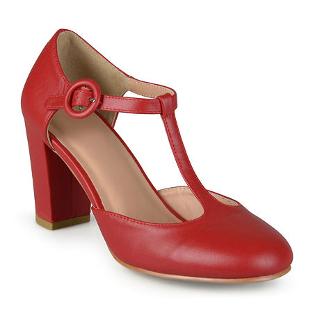 Journee Collection Womens Talie T-Strap Pumps, 8 1/2 Medium, Red