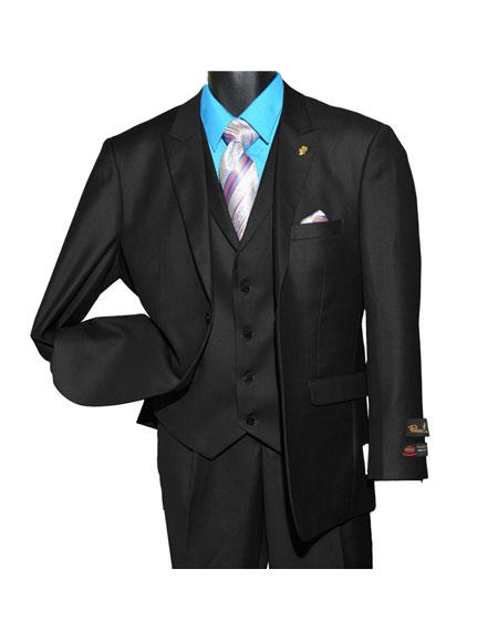 Falcone MenÕs Single Breasted Vested 2 Button Vintage Black Peak Suit