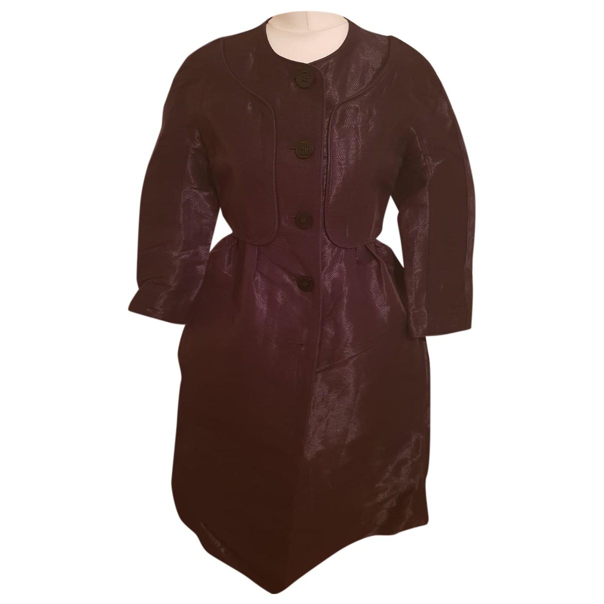 Burberry - Manteau   pour femme en lin - bordeaux