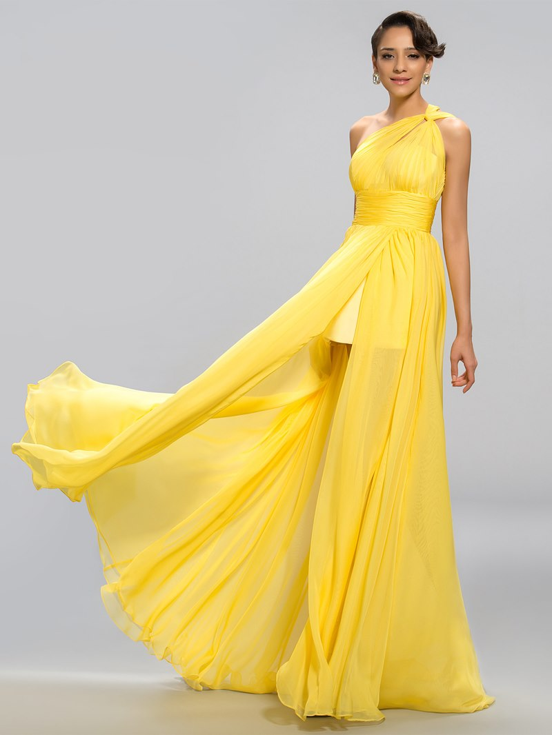 Sexy A-line One-Shoulder Split Front Floor Length Evening Dress