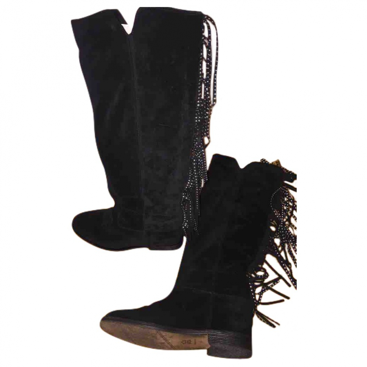 Via Roma Xv \N Black Suede Boots for Women 39 IT
