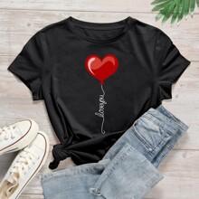 Camiseta con estampado de letra y corazon - grande