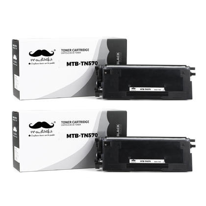 Compatible Brother TN570 Black Toner Cartridge High Yield Version of TN540 - Moustache@ - 2/Pack